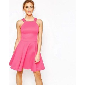 TED BAKER London Fit Flare Pleated Cocktail Dress